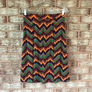 LulaRoe Madison Chevron Print Pleated Aline Skirt